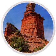 Lighthouse At Palo Duro Canyon Round Beach Towel