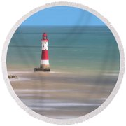 Lighthouse Beachy Head - England Round Beach Towel