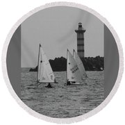 Lighthouse Boats Round Beach Towel