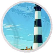 Lighthouse Bodie Island Round Beach Towel