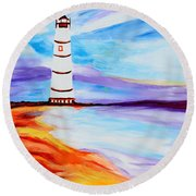 Lighthouse By The Sea Round Beach Towel