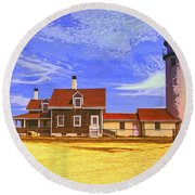 Lighthouse Cape Cod Round Beach Towel