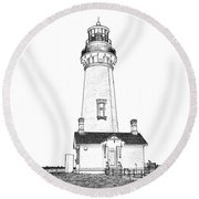 Lighthouse Computer Drawing Round Beach Towel