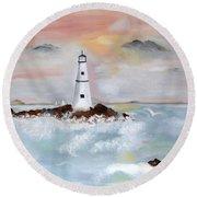 Lighthouse Cove Round Beach Towel