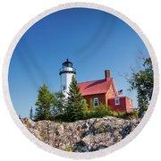 Lighthouse Eagle Harbor Lake Superior -6533 Round Beach Towel