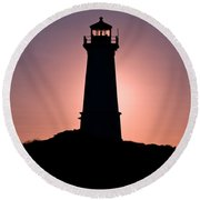 Lighthouse Eclipse Round Beach Towel