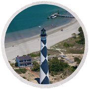 Lighthouse From Above Round Beach Towel