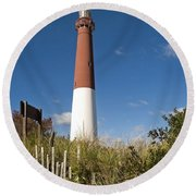 Lighthouse From Dunes Round Beach Towel