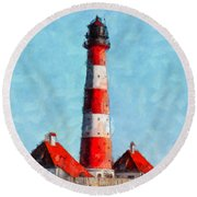 Lighthouse - Id 16217-152045-8706 Round Beach Towel