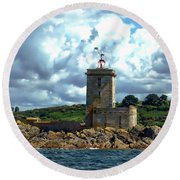 Lighthouse Ile Noire Round Beach Towel