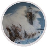 Lighthouse In A Storm Round Beach Towel