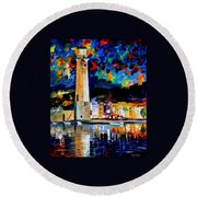 Lighthouse In Crete Round Beach Towel
