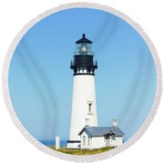 Lighthouse In Nice Weather. Round Beach Towel