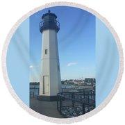 Lighthouse In Texas Round Beach Towel