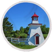 Lighthouse Landscape Two Round Beach Towel