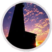 Lighthouse Lovers Round Beach Towel