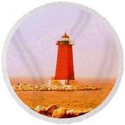 Lighthouse Manistique Retro Pano Round Beach Towel