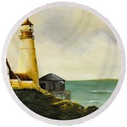 Lighthouse In Oil Round Beach Towel