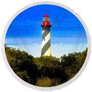 Lighthouse Of Saint Augustine Round Beach Towel