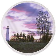 Lighthouse On A Landscape, Tawas Point Round Beach Towel