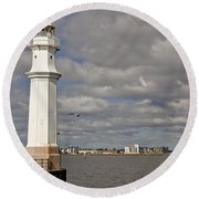 Lighthouse On A Sunny Day. Round Beach Towel