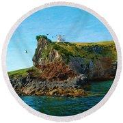 Lighthouse On Cliff Dunedin New Zealand Round Beach Towel