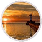 Lighthouse On Glass Round Beach Towel