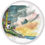 Lighthouse On The Hill Round Beach Towel