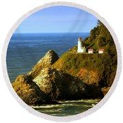 Lighthouse On The Oregon Coast Round Beach Towel