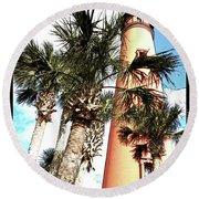 Lighthouse Palms Round Beach Towel