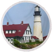 Lighthouse - Portland Head Maine Round Beach Towel