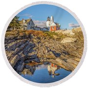 Lighthouse Reflection Round Beach Towel