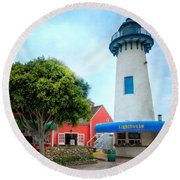 Lighthouse Seaside Cafe Round Beach Towel