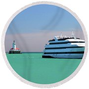 Lighthouse Ship Chicago Navy Pier Round Beach Towel