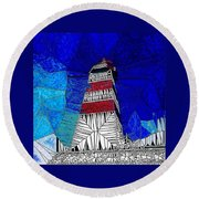Lighthouse Stained Glass  Round Beach Towel