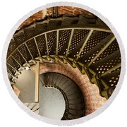 Lighthouse Stairs Cape Blanco Oregon 2 Round Beach Towel