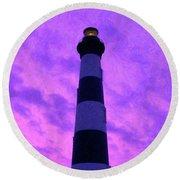 Lighthouse Sunset - Digital Art Round Beach Towel