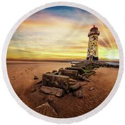 Lighthouse Sunset Wales Round Beach Towel