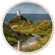 Lighthouse Twr Mawr Round Beach Towel