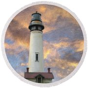 Lighthouse Visitors Round Beach Towel