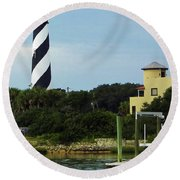 Lighthouse Water View Round Beach Towel