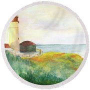 Lighthouse-watercolor Round Beach Towel