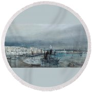 Lighthouses Beyond Round Beach Towel