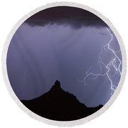 Lightnin At Pinnacle Peak Scottsdale Arizona Round Beach Towel