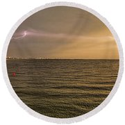 Lightning And Rainbow, Fort Myers Beach, Fl Round Beach Towel