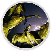 Lightning At Horse World Fine Art Print Round Beach Towel