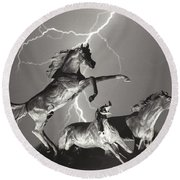 Lightning At Horse World Round Beach Towel