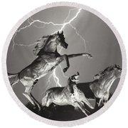Lightning At Horse World Round Beach Towel