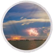 Lightning At Sunset With Star Trails Round Beach Towel
