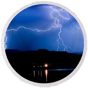 Lightning Blues Round Beach Towel